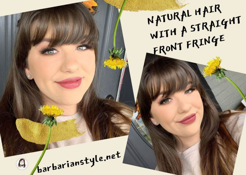 natural hair with a straight front fringe