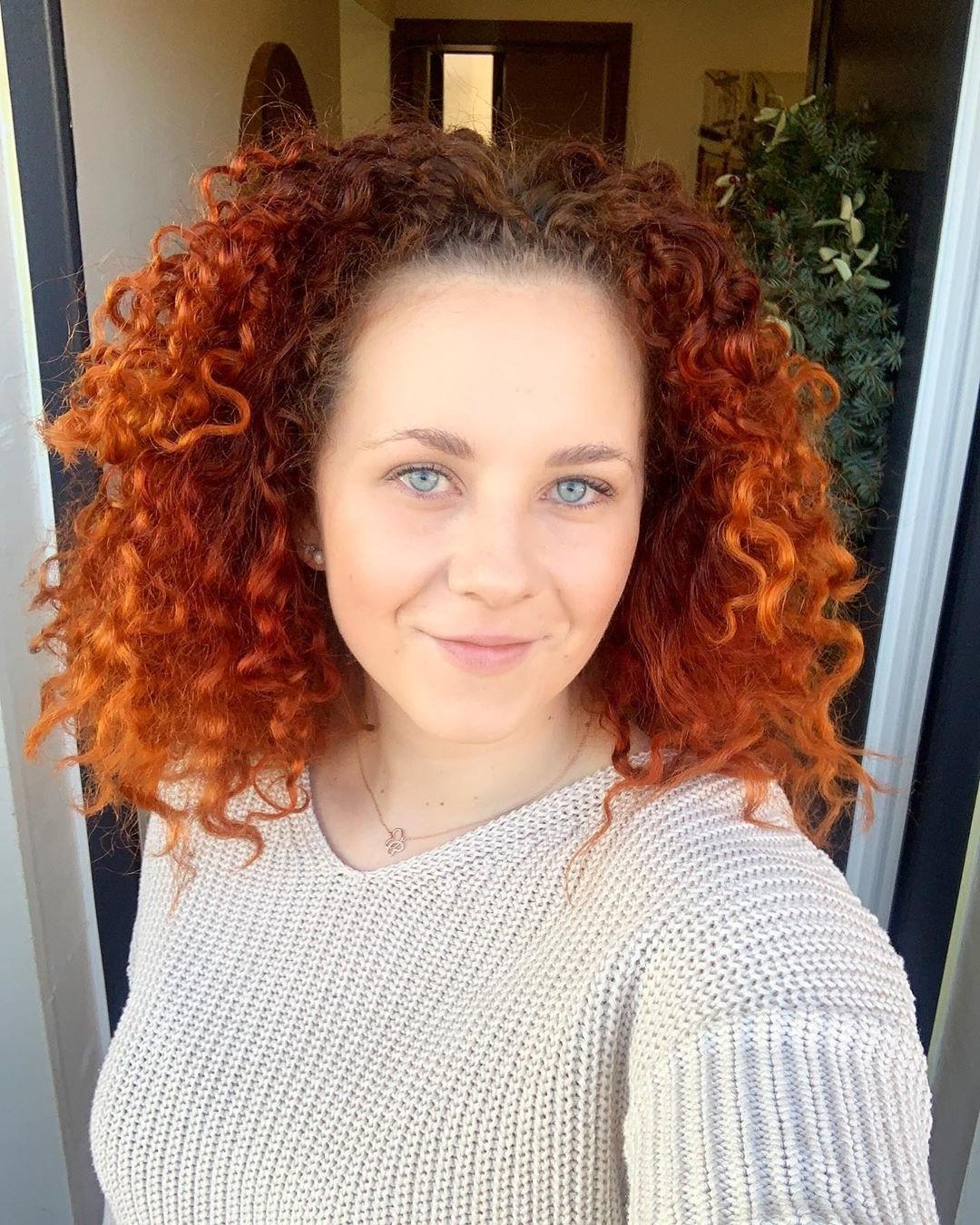 Orange Highlights for Medium Curly Hair