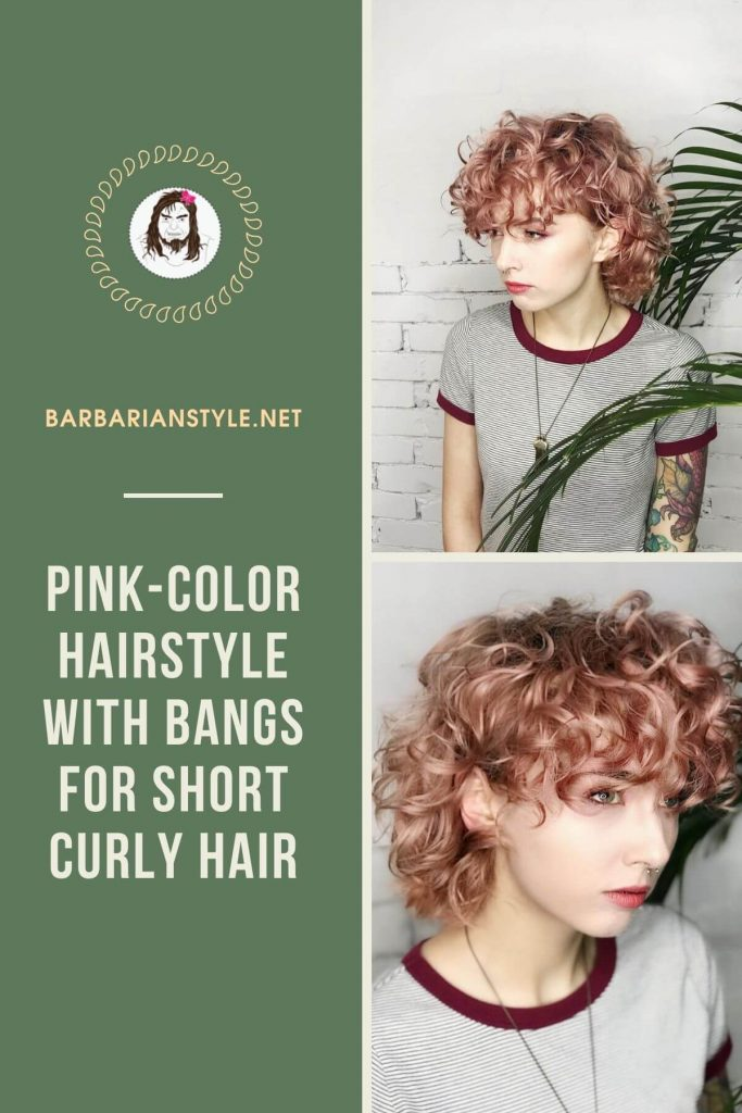 pink-color hairstyle with bangs for short curly hair