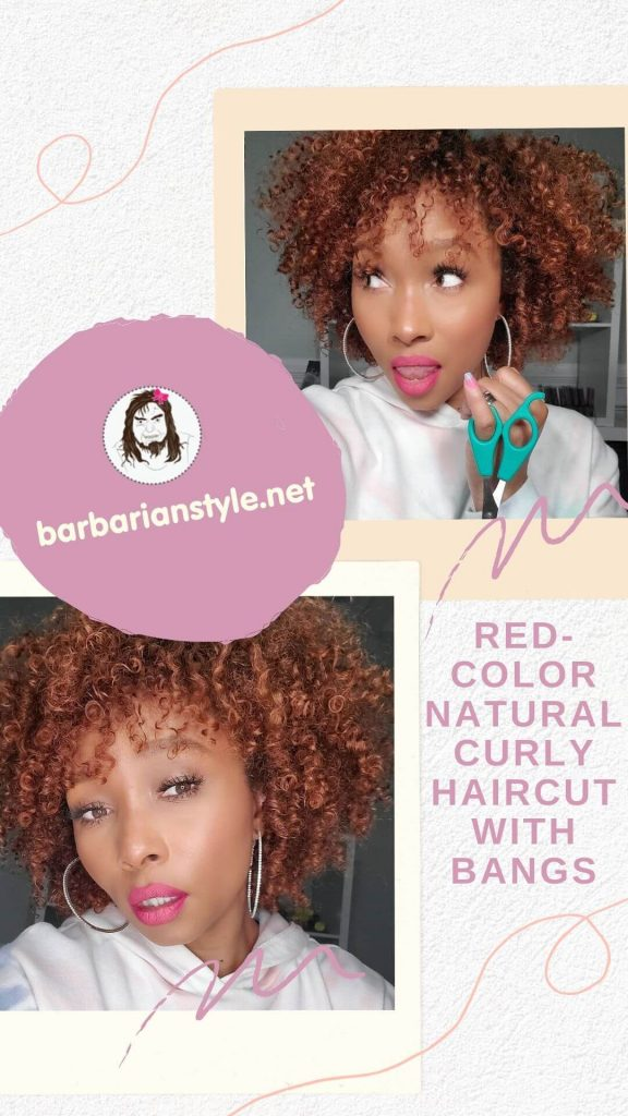 red-color natural curly haircut with bangs