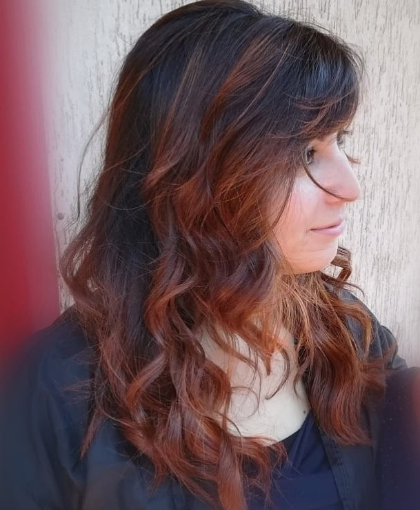 red curly highlights for natural dark brown hair