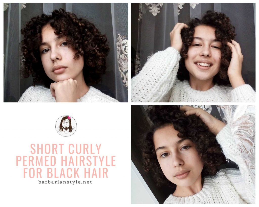 short curly permed hairstyle for black hair