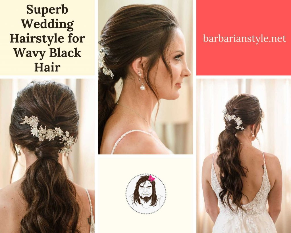 superb wedding hairstyle for wavy black hair