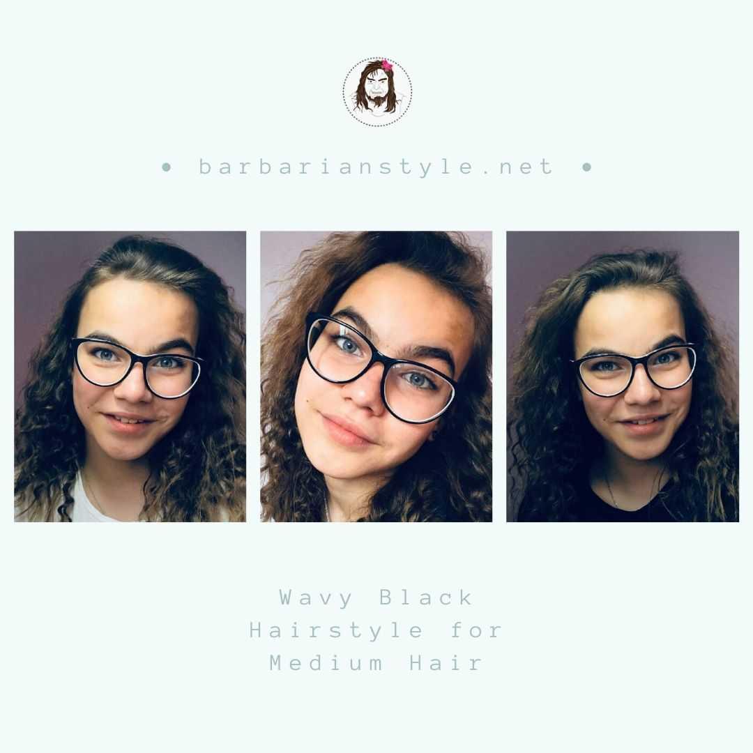 wavy black hairstyle for medium hair