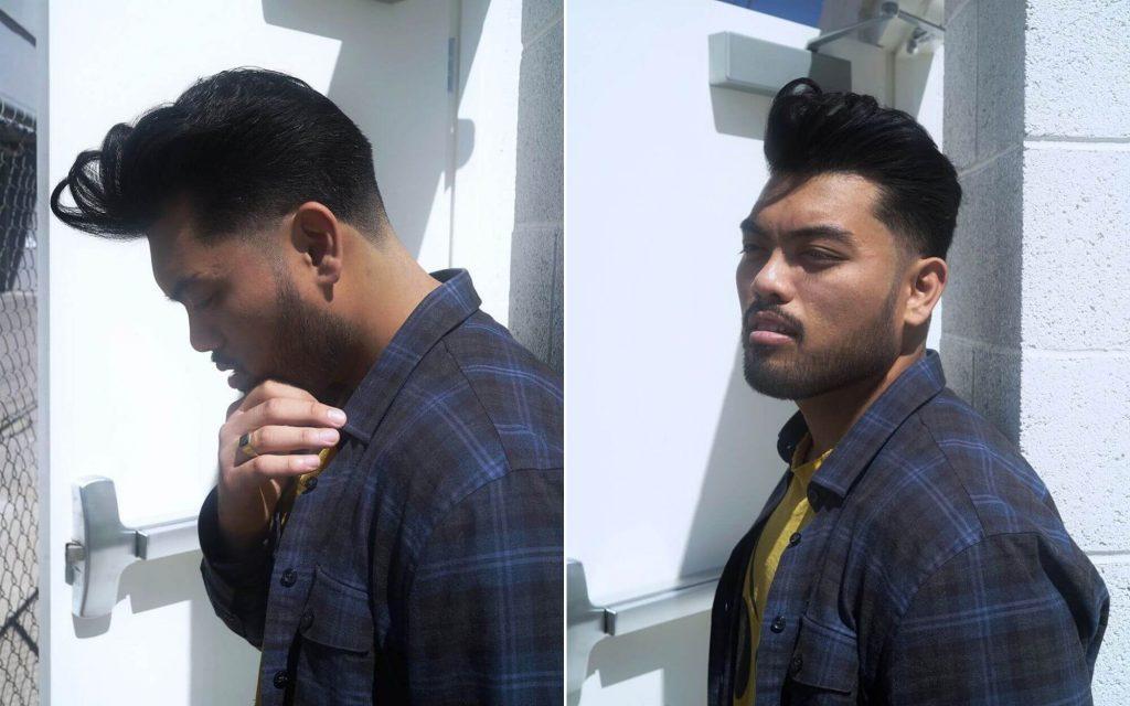 Asian Slicked Back Undercut with a Full Beard