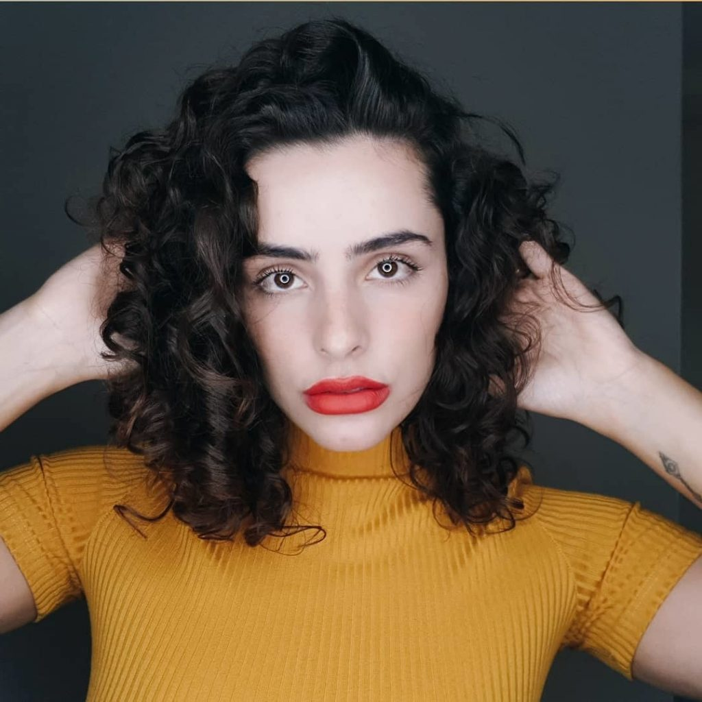 Black Curly Haircut for Shoulder-Length Hair