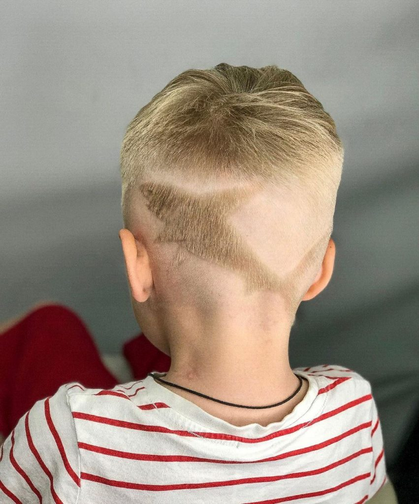 Cool Short Undercut for Boys with a Shark Design