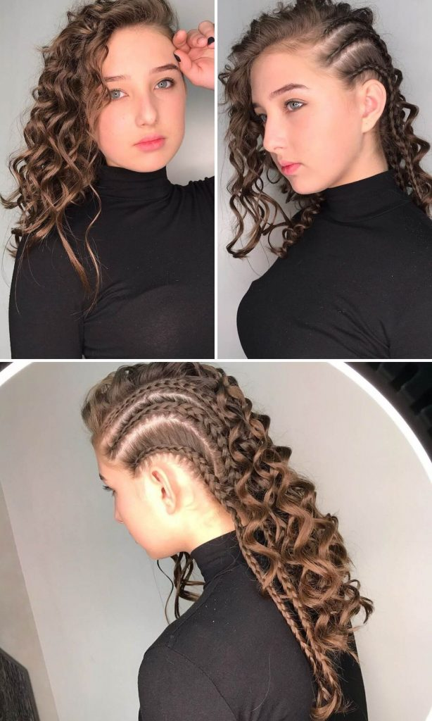 Curled Hairstyle with Braids