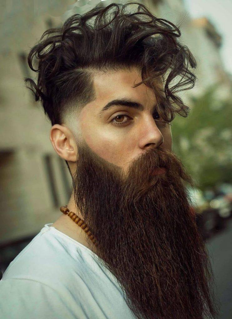 Curly Undercut + Fringe + Long Beard