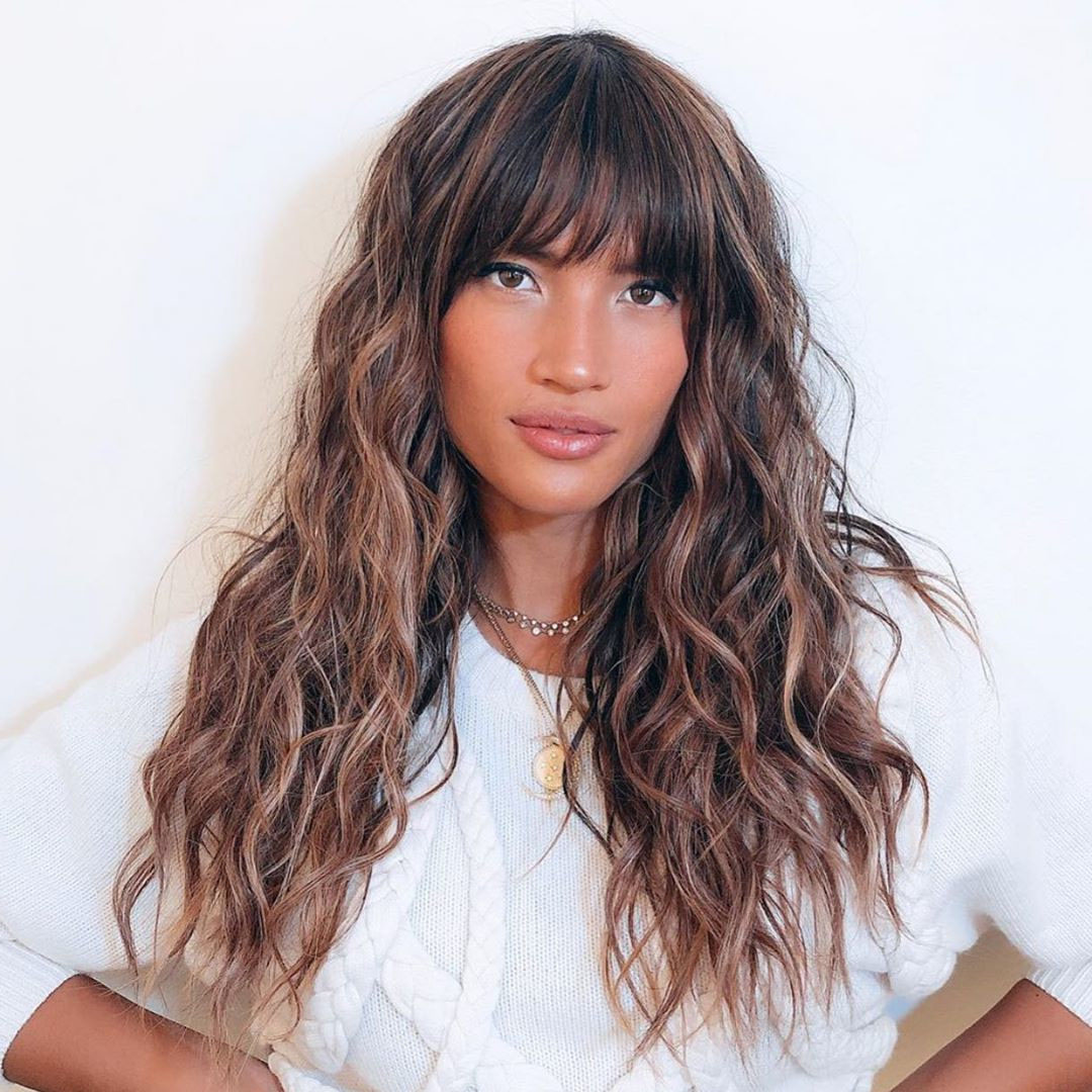 Cute Long Wavy Hairstyle with Bangs