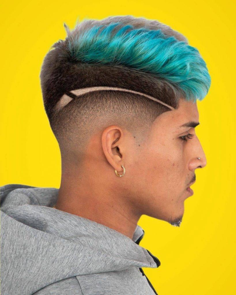 Green Color Dyed Fade Haircut Idea for Men
