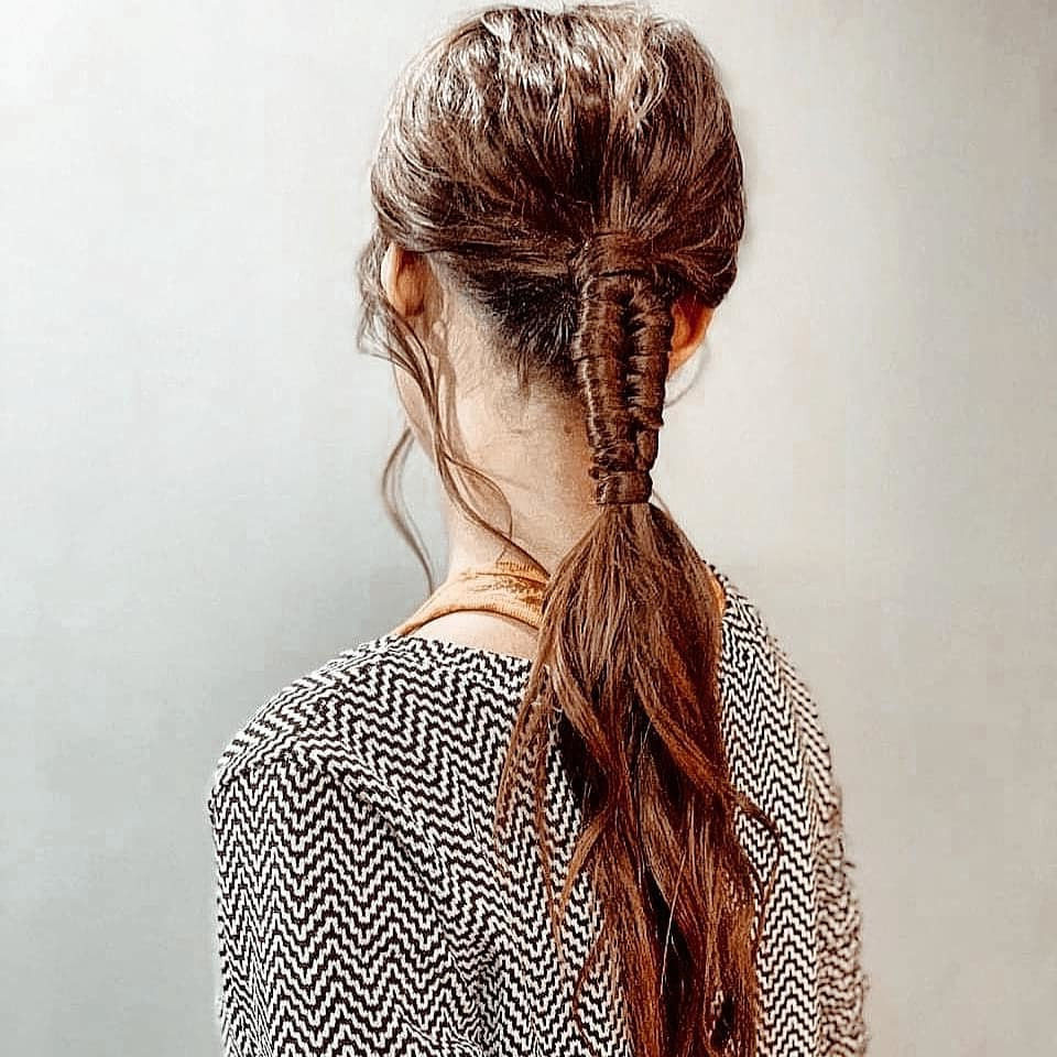Long Braided Ponytail for Wavy Hair