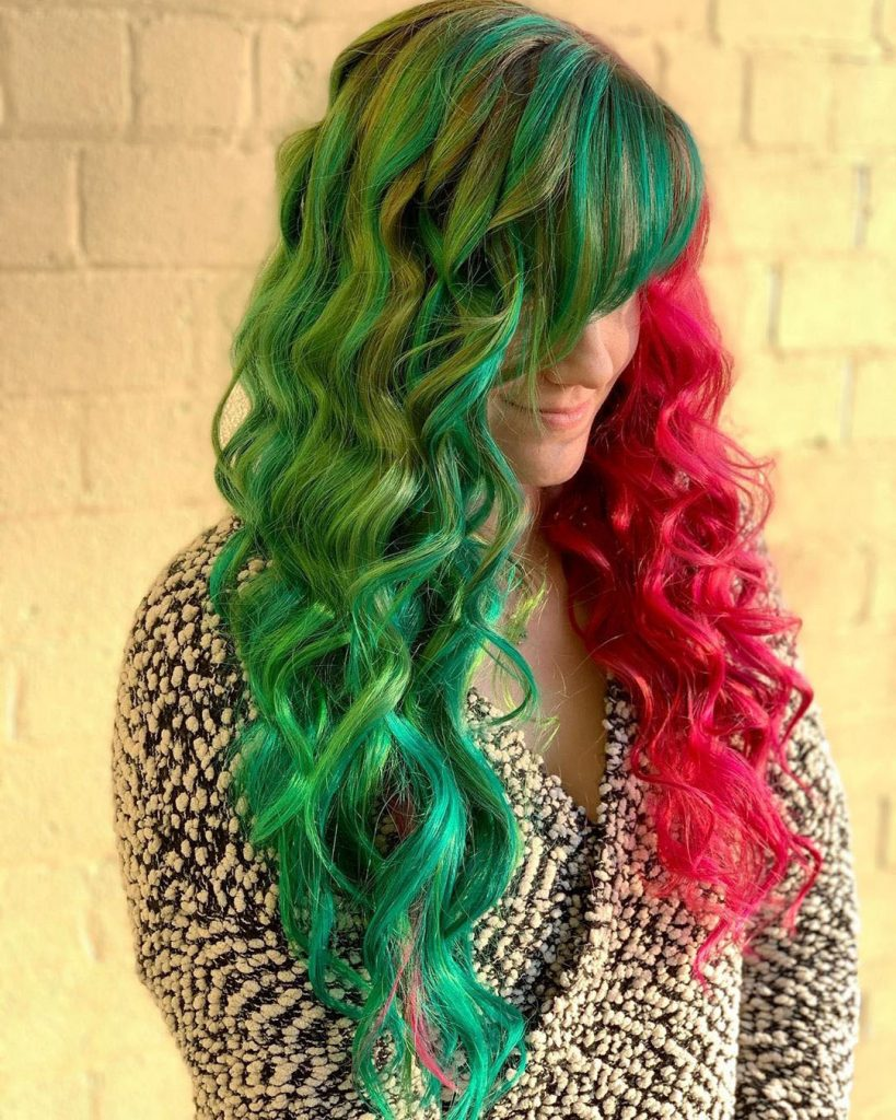 Long Curled Green-Red Hair with Bangs