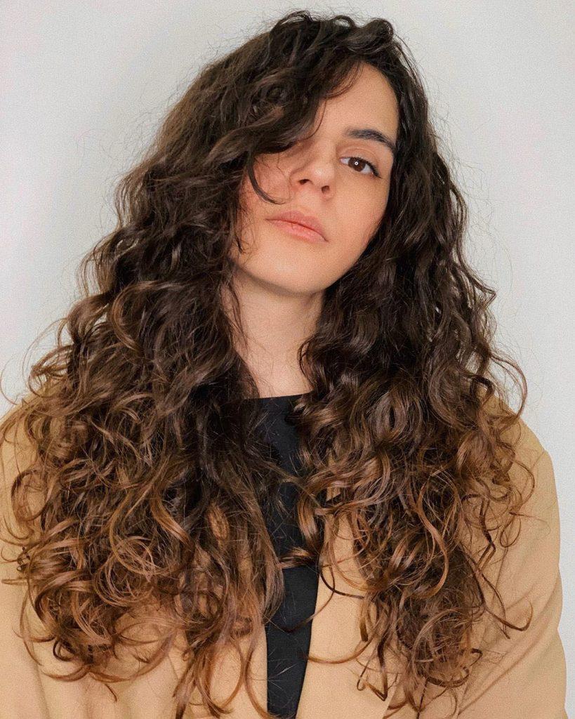 Long Curly Dark Brown Hair