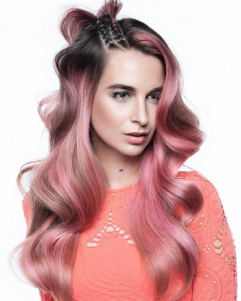 Long Pink Hairstyle with Finger Waves