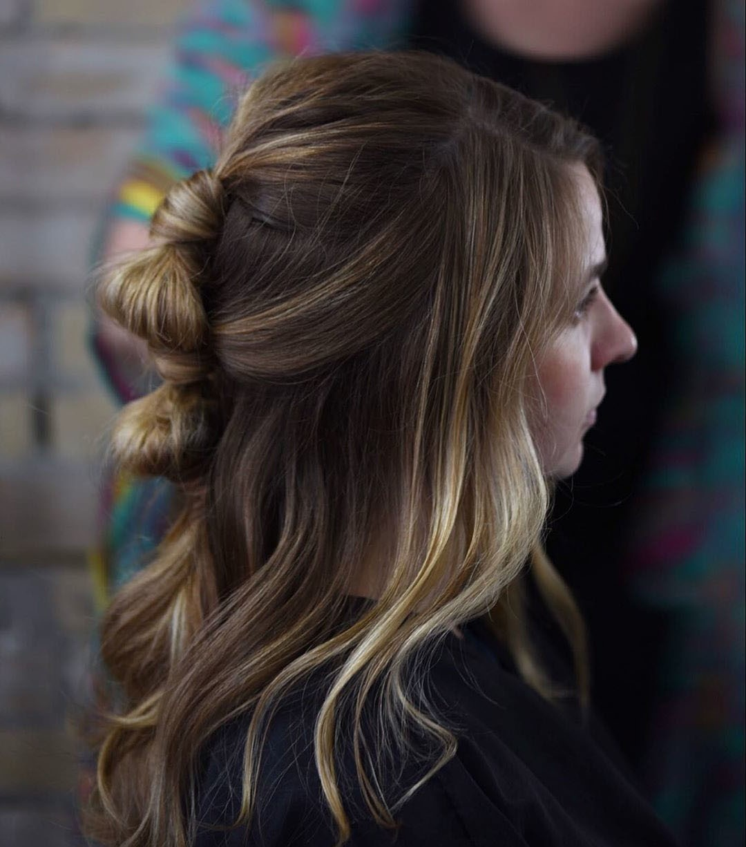 Long Wavy Haircut with a Ponytail