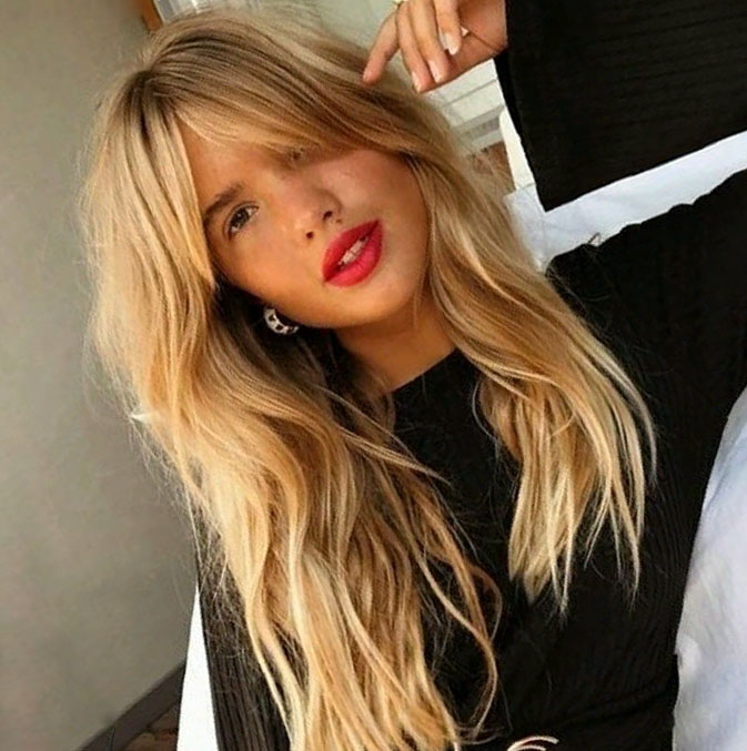 Long Wavy Hairstyle with Bangs for Girls with Blonde Hair