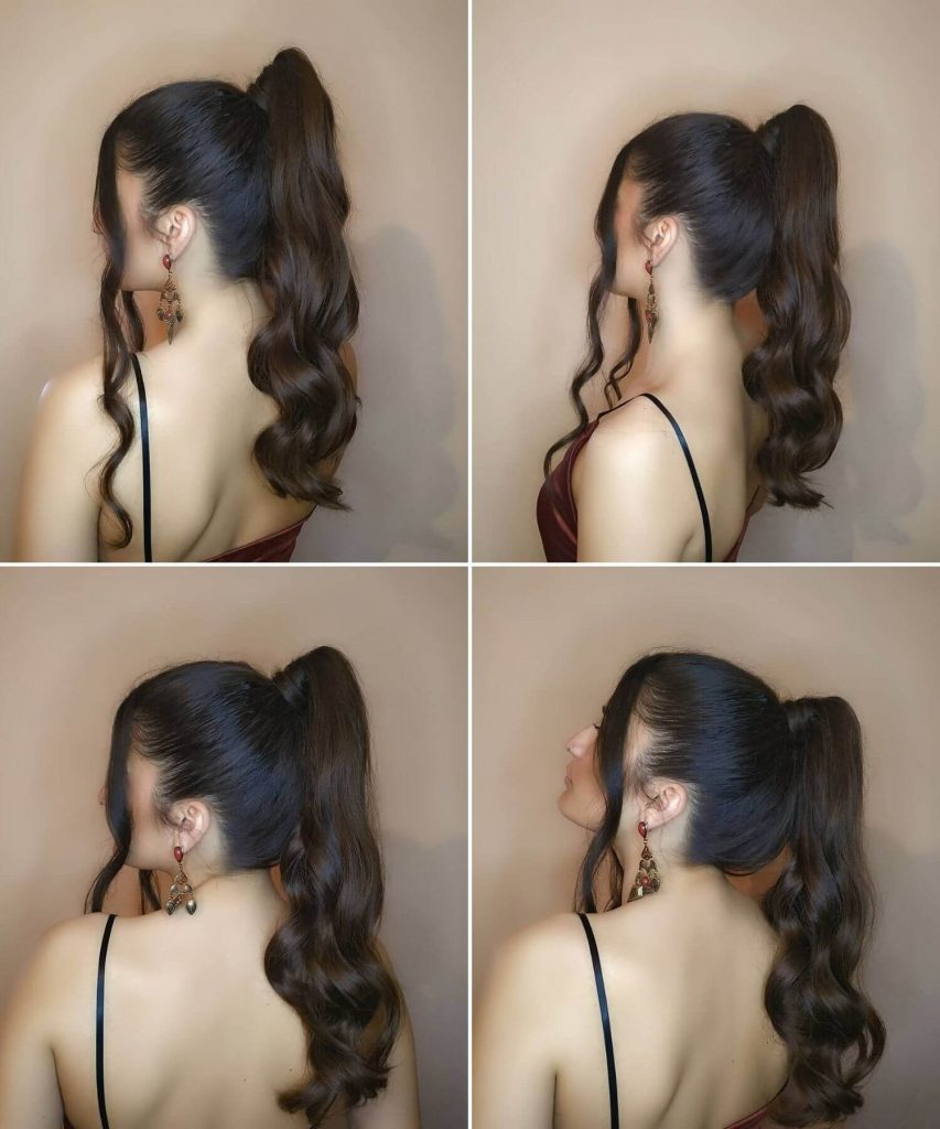 Long Wavy Hairstyle with a Ponytail