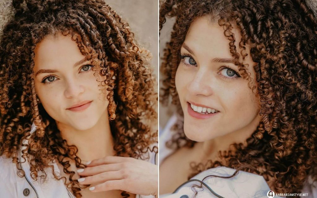 Medium-Length Brown Curly Hairstyle for Any Season