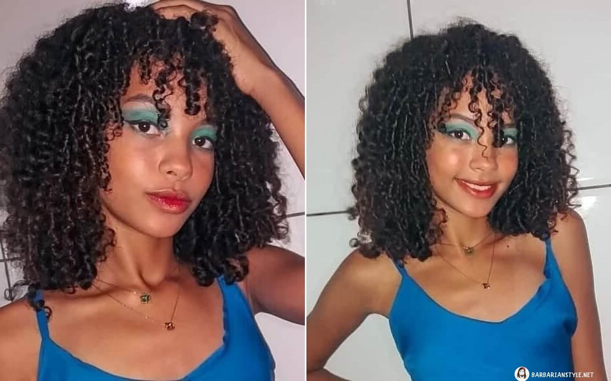 Medium-Length Curly Hairstyle with Bright Bangs
