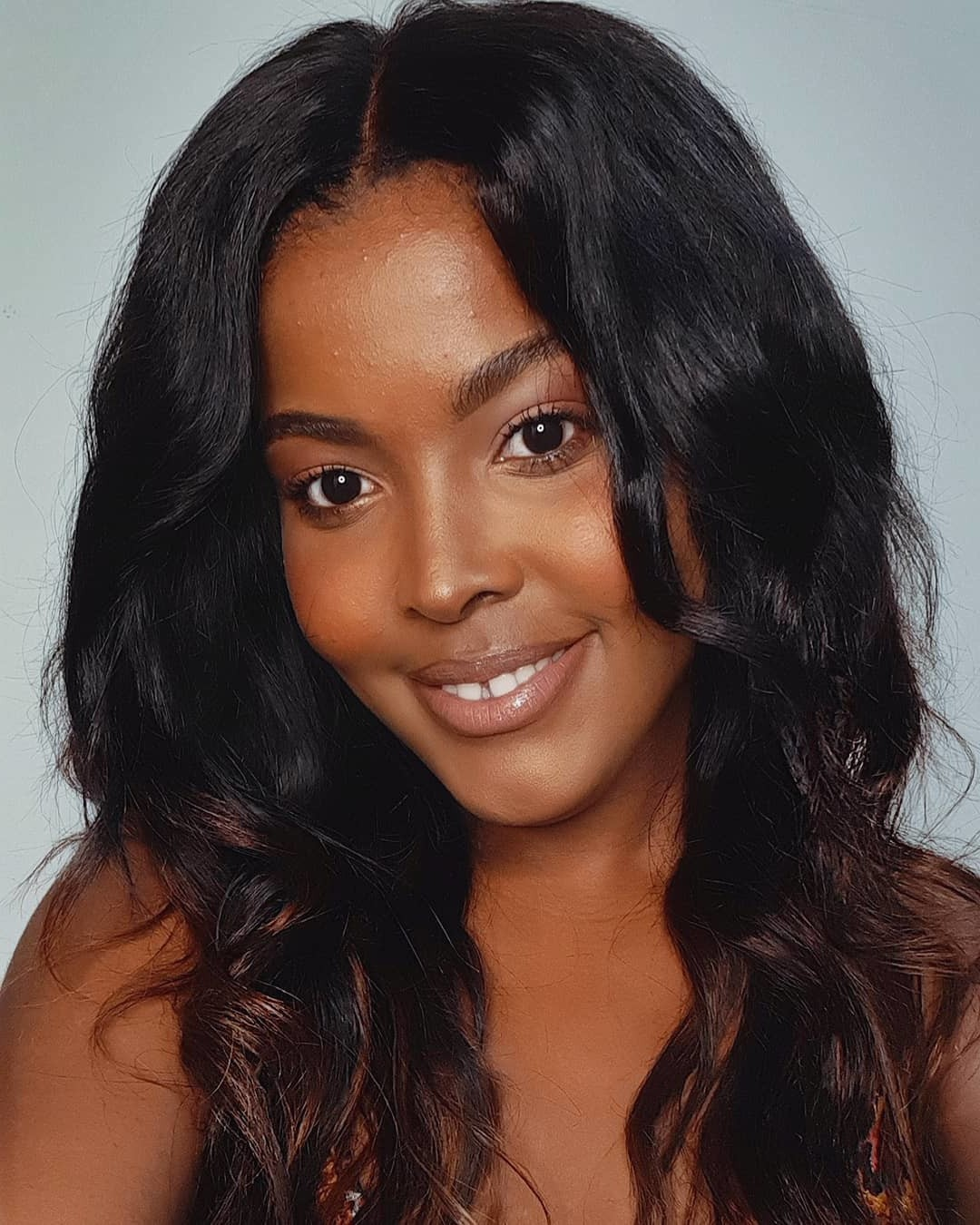 Medium-Length Dark Black Hairstyle