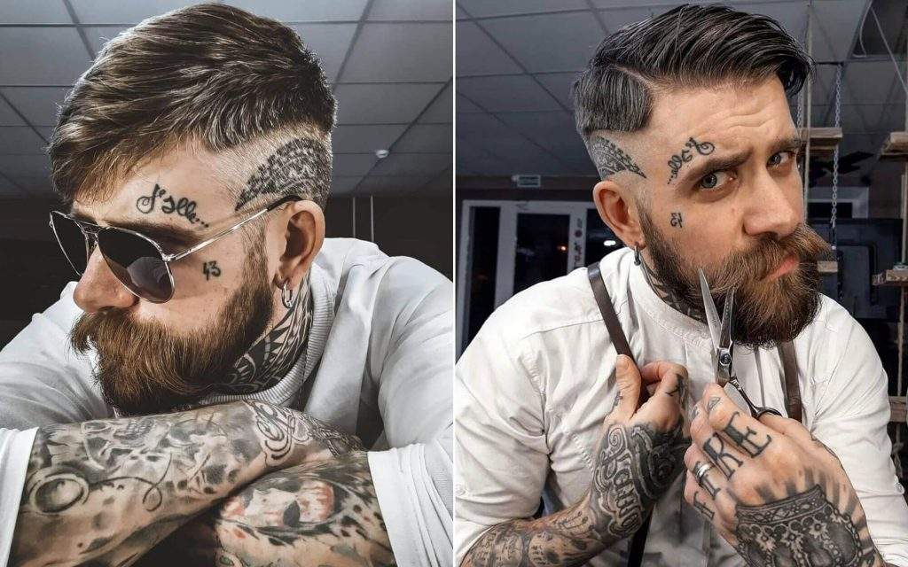 Medium Length Undercut Hair with a Beard
