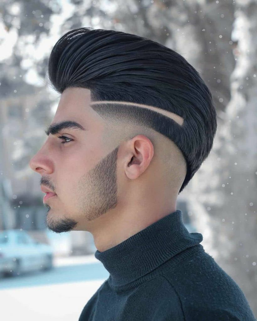Mid Fade with Slick Back