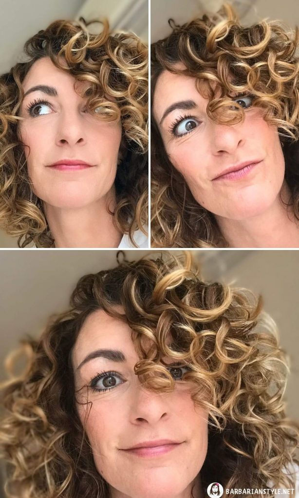 Mid-Length Curly Hairstyle with Bangs