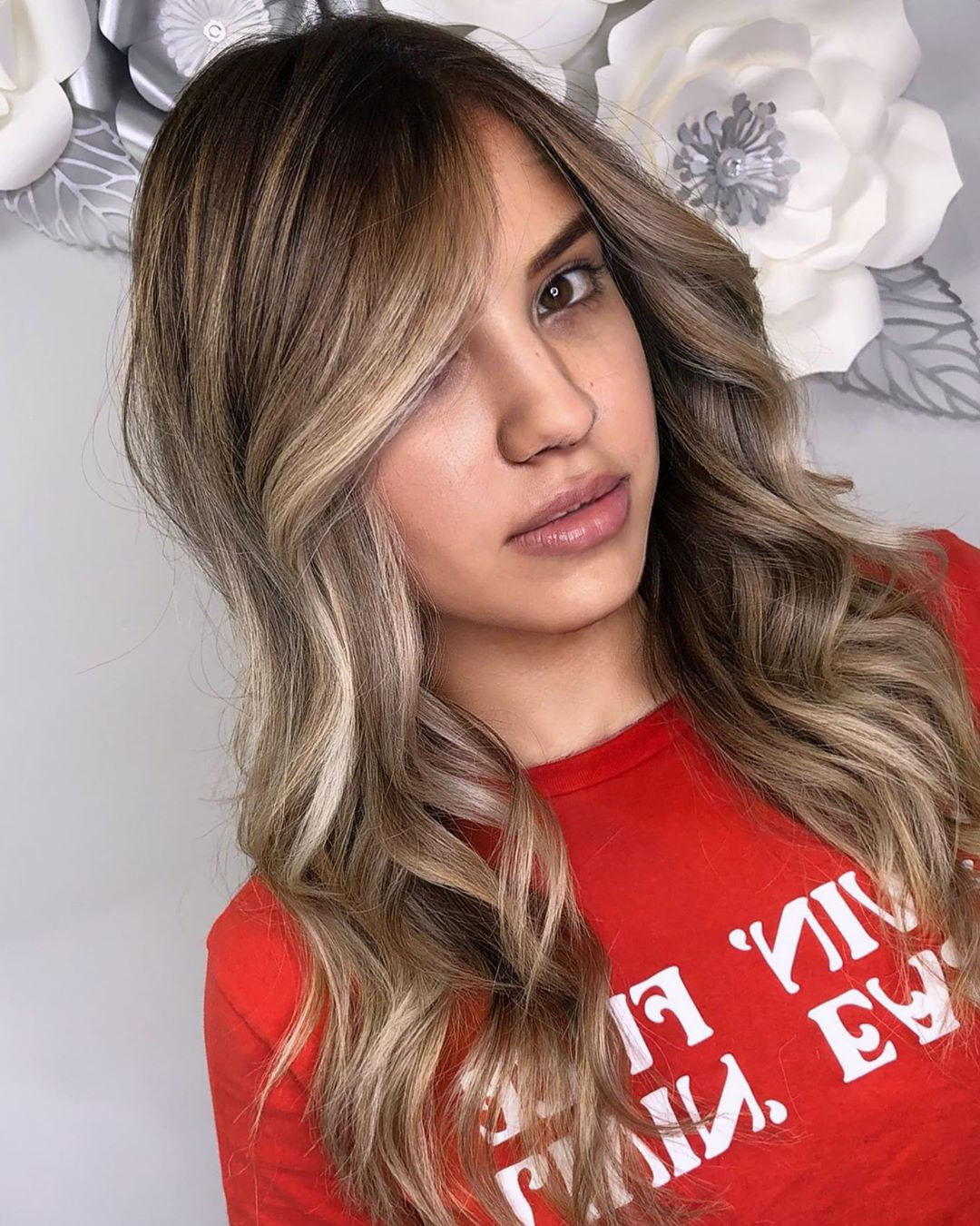 Natural Long Wavy Haircut with Side Bangs