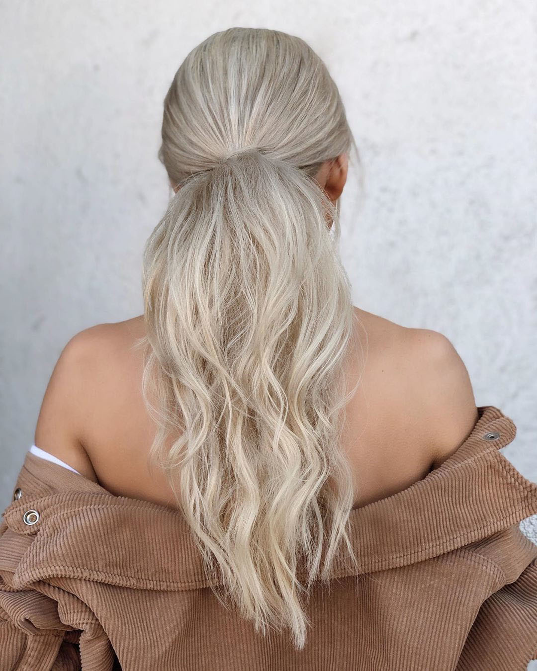 Natural Wavy Hairstyle with a Nice Ponytail