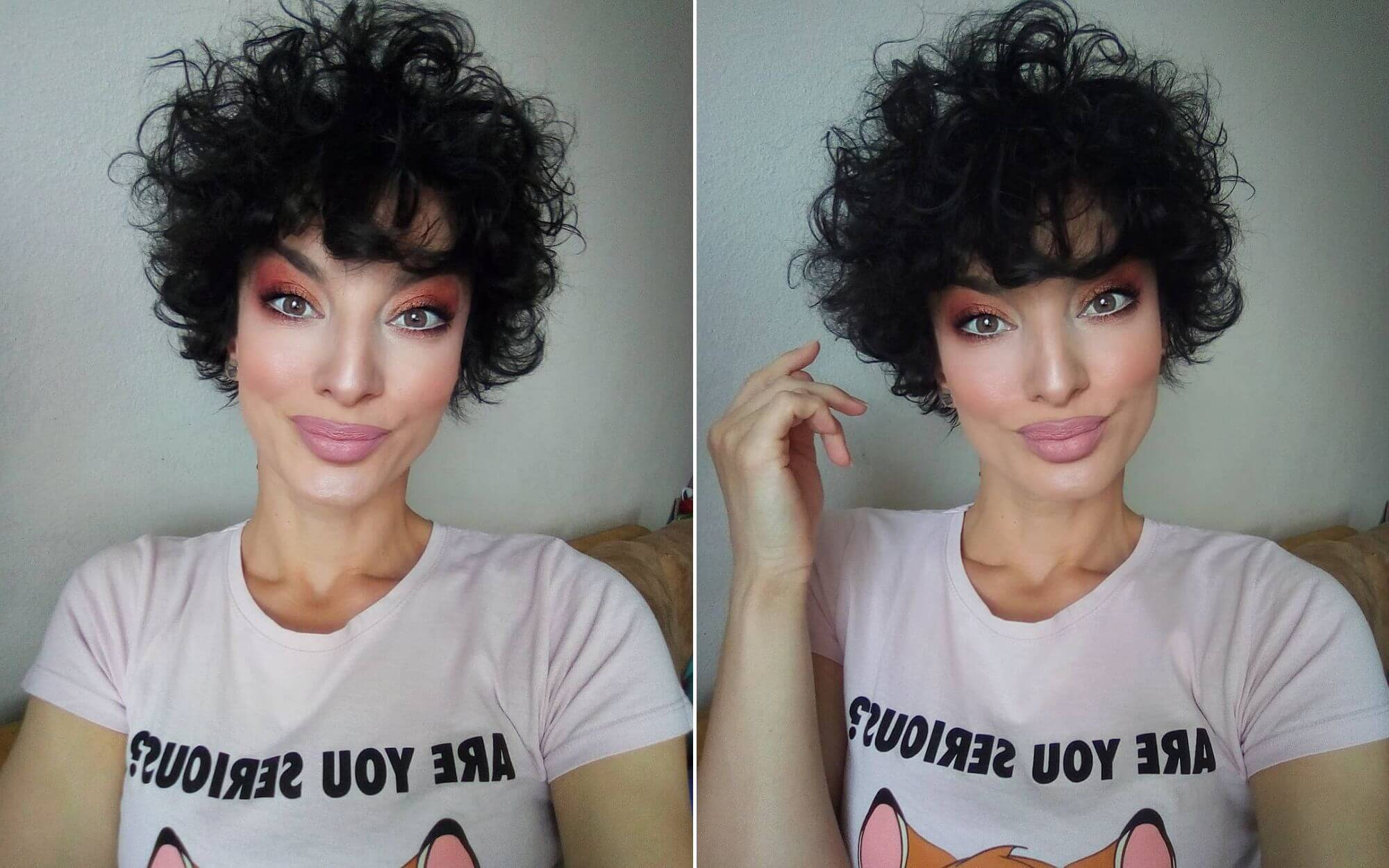 Short Curly Hair with Bangs for Women with Round Face