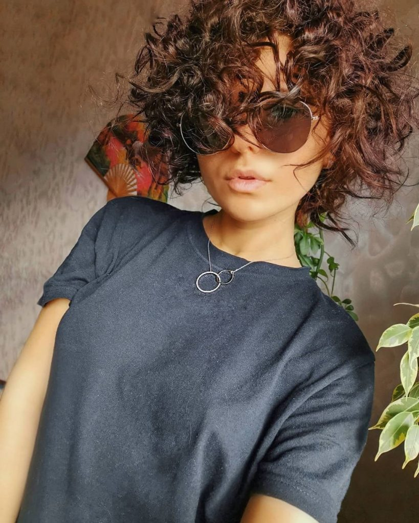 Short Curly Hairstyle for Dark Brown Hair Color