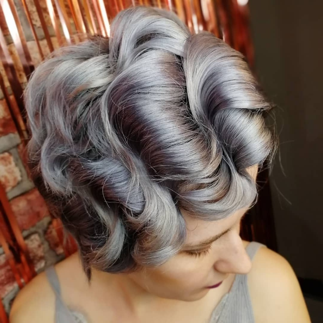 Short Curly Hairstyle for Grey Color Hair