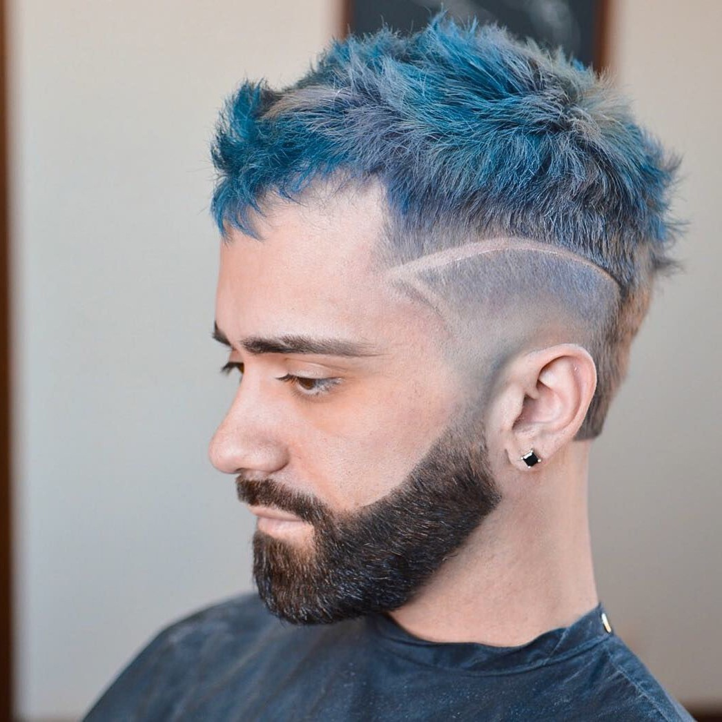 Short Disconnected Undercut for Men with Messy Blue Hair
