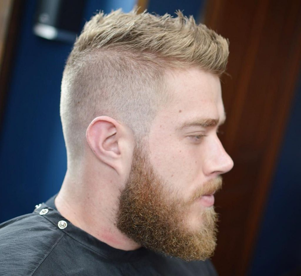 Short Hair Mohawk Hairstyle with a Beard
