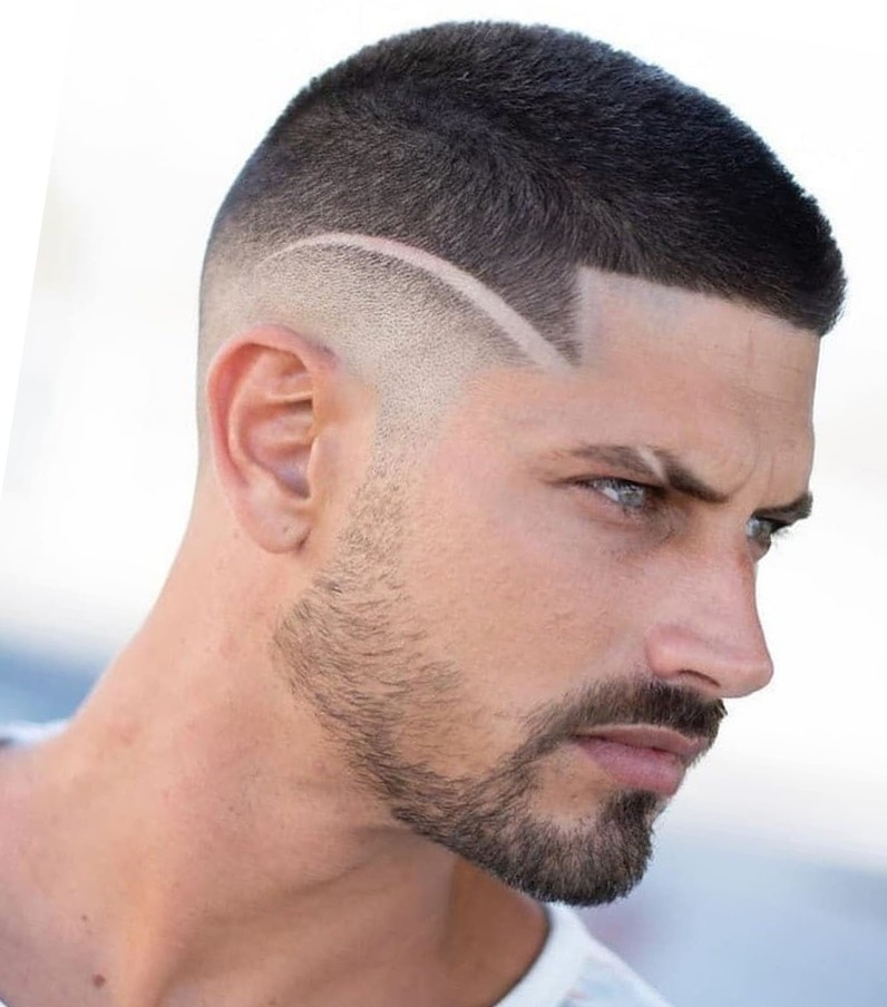 Short Hair cut Design with a Line for Shaved Males