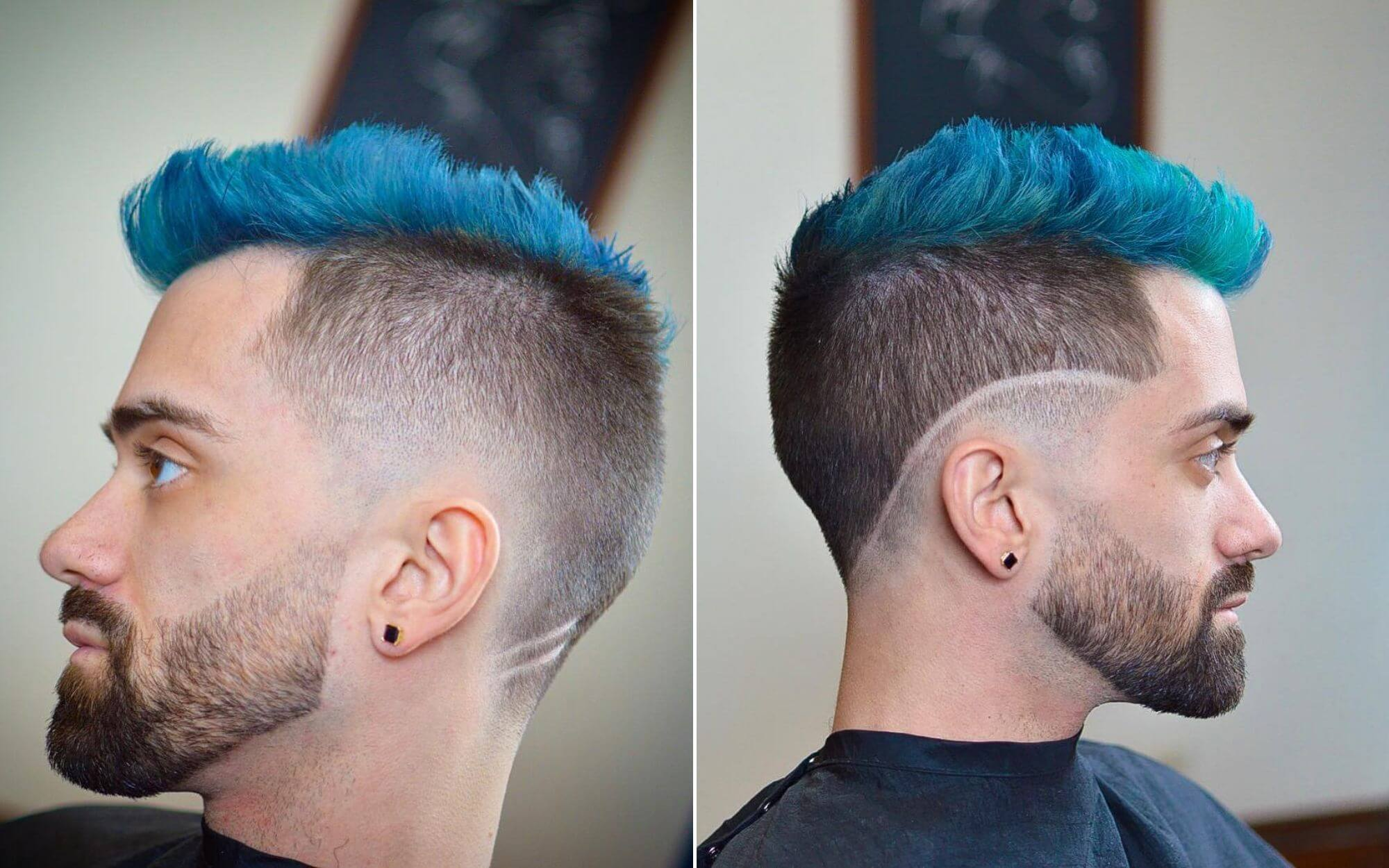 Short Undercut in the Mohawk Style for Guys with Blue Hair