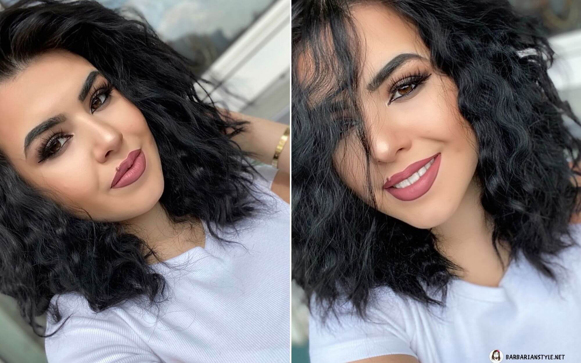 Shoulder-Length Wavy Hairstyle of Black Color
