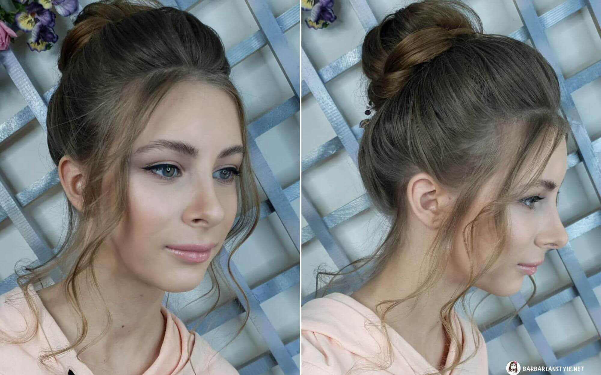 Shoulder-Length Wavy Hairstyle with a Bun