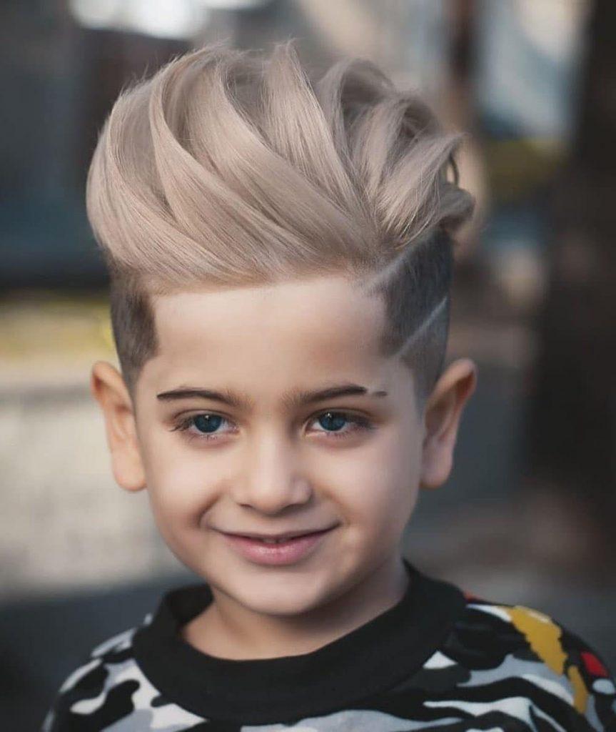 Textured Pompadour with a Hair Design for Boys