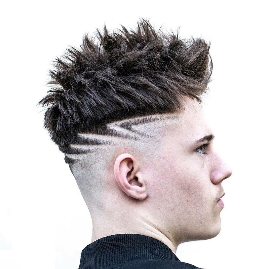 Bald Fade Undercut Design with Messy Hairstyle