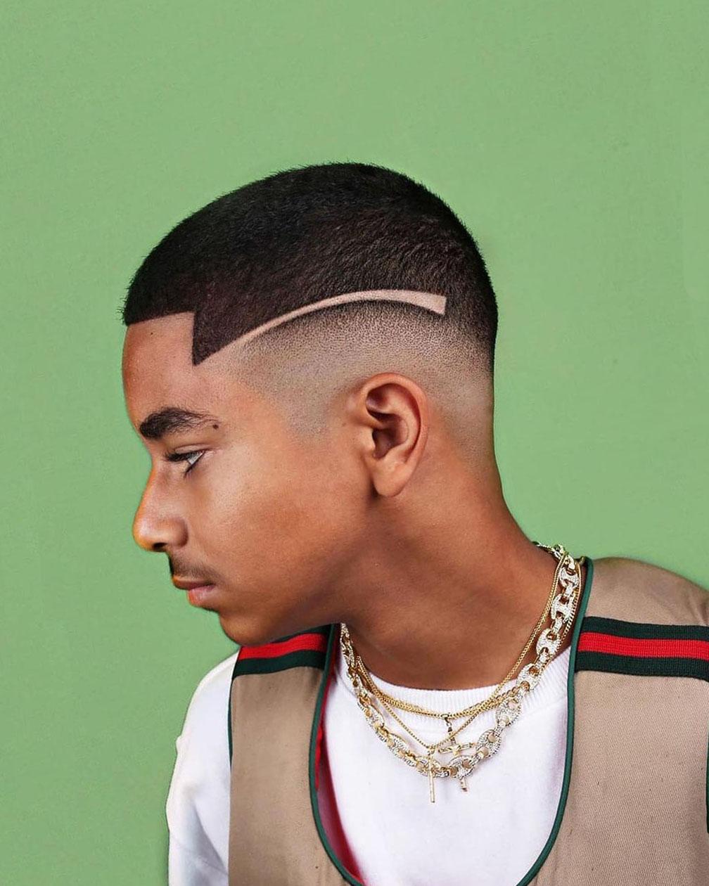 Black Guys Cropped Cut with Acute Angled Fringe