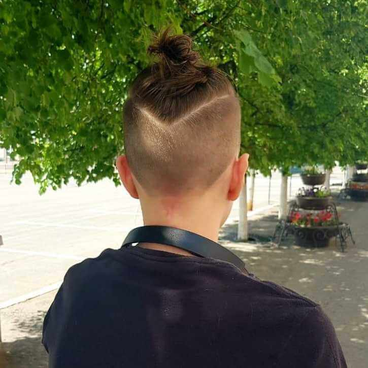 Boys' Bun with Undercut - back side view