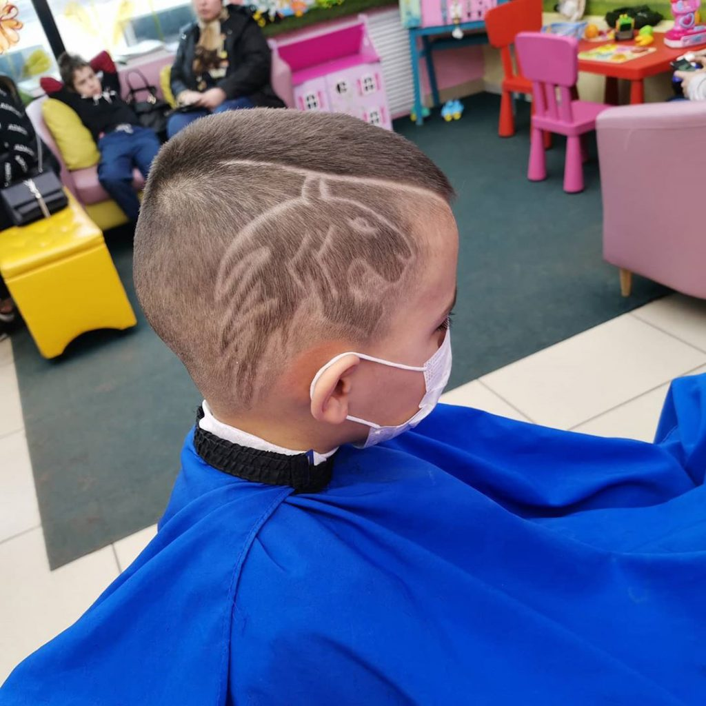 Boys Short Disconnected Undercut with Tiger Muzzle