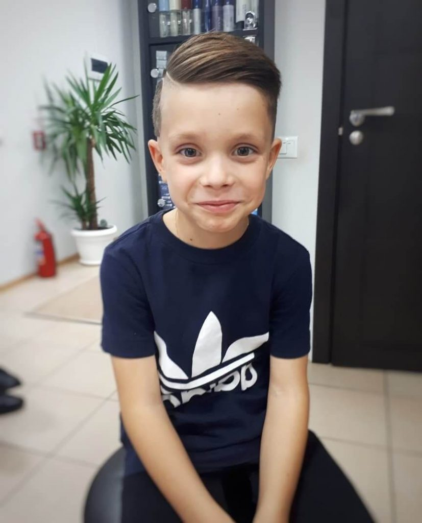 Boys Side Swept Hairstyle with Football Design
