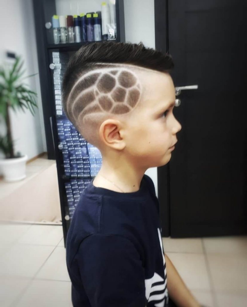 Boys Side Swept Hairstyle with Football Design - side view