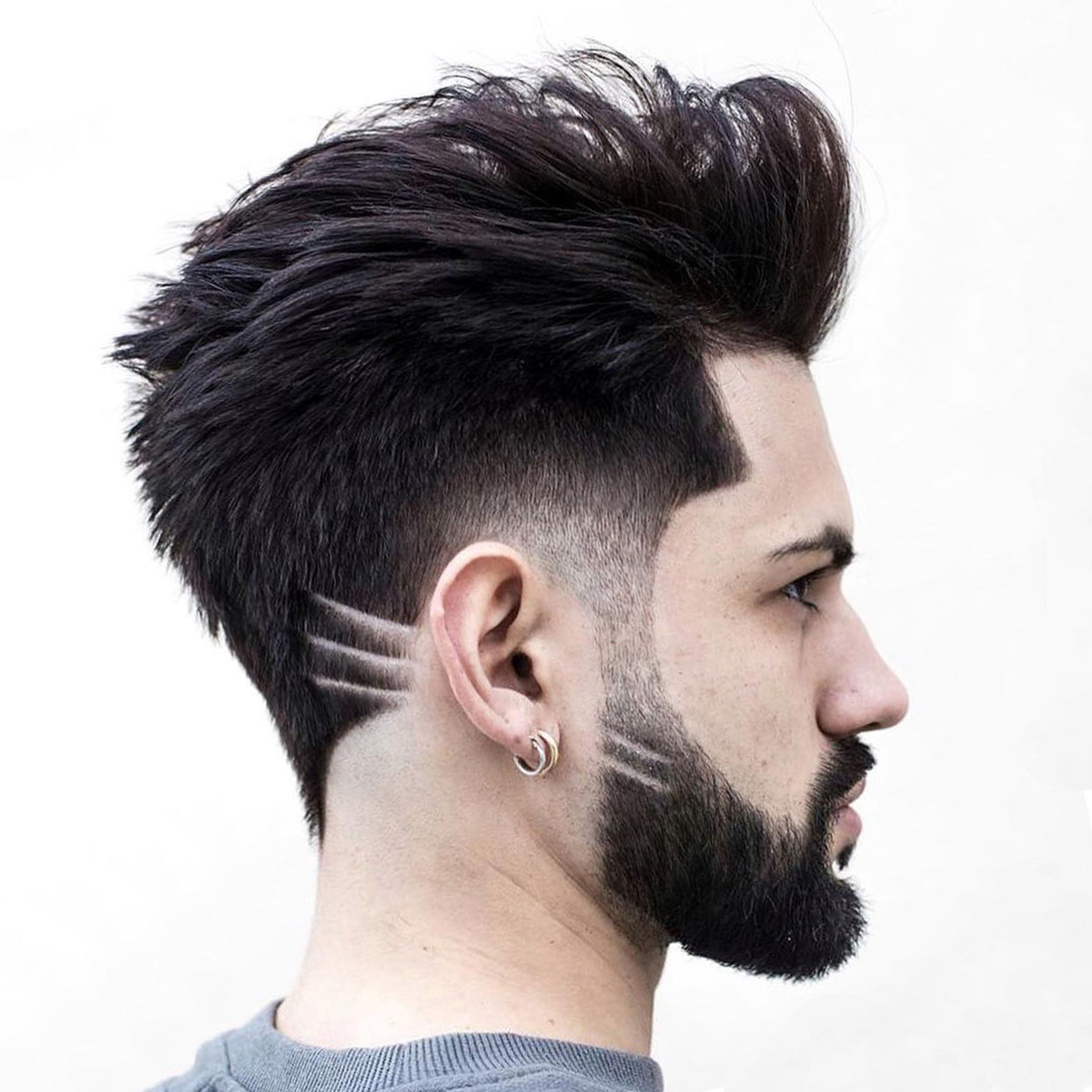 Brushed Back Hairstyle with Full Beard