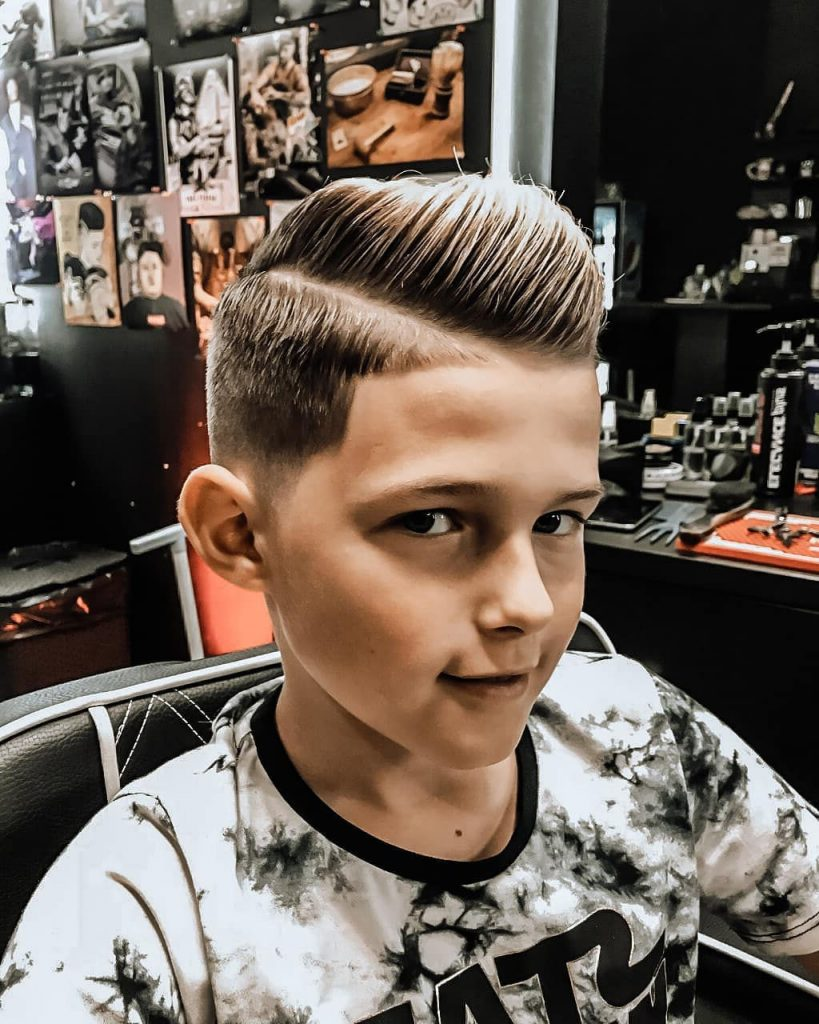 Classy Side Part Haircut with Low Fade