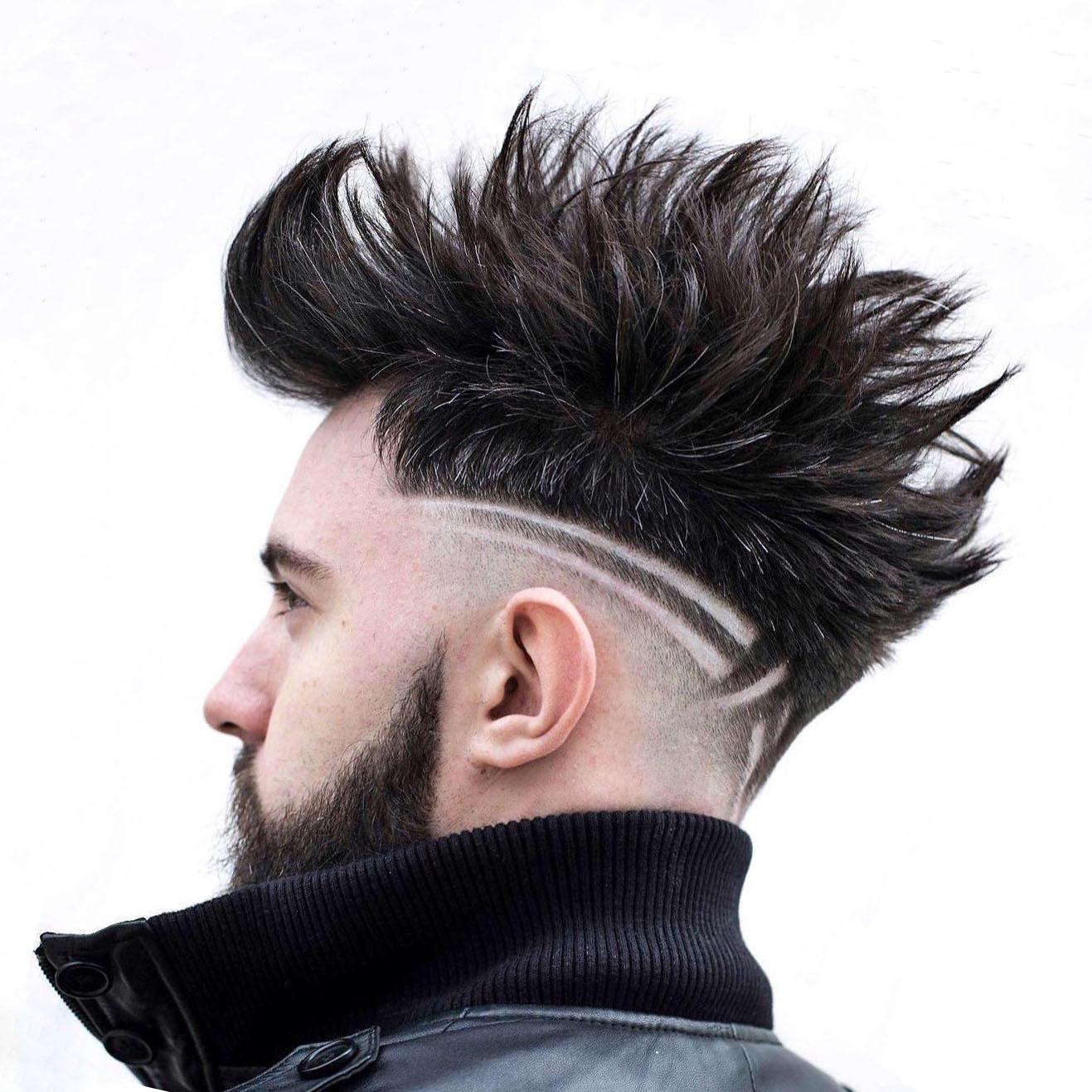 Cool Long Spiky Undercut Design for Men - side view