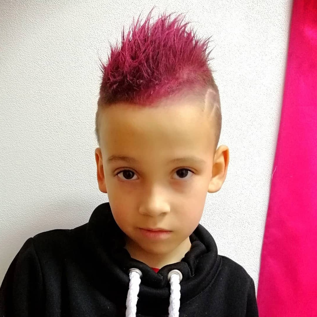 Cool Mohawk Pink Color Haircut for Kids